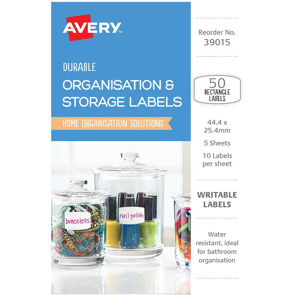 avery 39015 durable removable labels 44 4 x 25 4mm white with blue