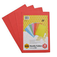 MARBIG MANILLA FOLDER FOOLSCAP RED PACK 20