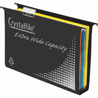 CRYSTALFILE SUSPENSION FILE EXTRA WIDE PP 50MM COMPLETE BLACK BOX 10