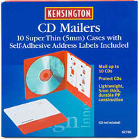 KENSINGTON CD MAILERS WITH ADDRESS LABELS PACK 10