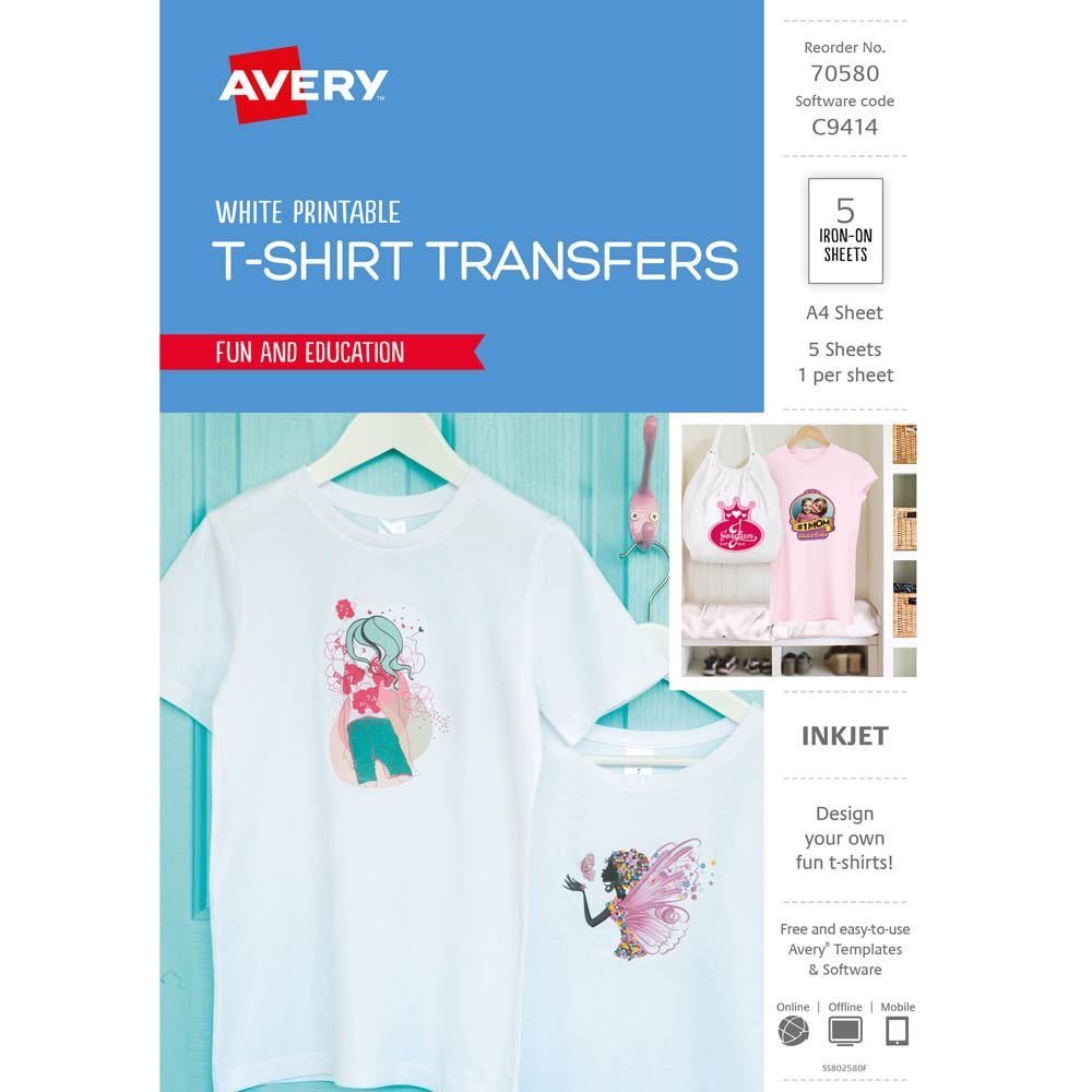 AVERY 70580 C9414 INSPIRED T-SHIRT TRANSFER A4 WHITE PACK 5 | Pro