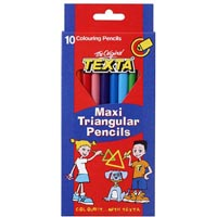 TEXTA MAXI SIZE TRIANGULAR COLOURED PENCILS ASSORTED PACK 10
