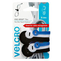 VELCRO BRAND ONE-WRAP CABLE TIES ASSORTED COLOUR AND SIZE PACK 6