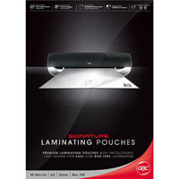 GBC LAMINATING POUCH GLOSS 80 MICRON A3 CLEAR PACK 100